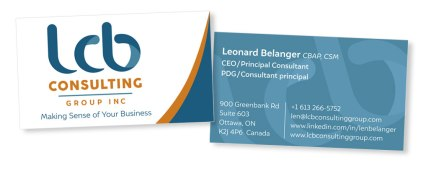 Business card design for consultant based on branding created at Sumack Loft.