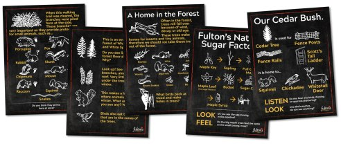 Fulton's Pancake House & Sugar Bush updated their trail signage in 2019 and needed a large suite of very quick illustrations based on the old signs which were hand painted a few decades ago.