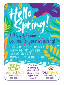 Spring Newspaper Ad: Colourful and joyous newspaper ad for Sumack Loft and web partner Foil Media's services.