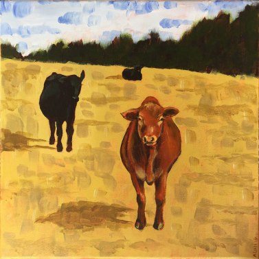 Curiosity Cows, 2019. 12″ x 12″ acrylic on canvas
