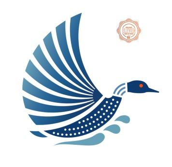 "Rideau Lakes Public Library requested imagery of a loon taking off with the open wings recalling the pages of a book and its necklace mimicking a wifi symbol. This logo was selected for the LogoLounge 11th annual ""best of the best"" book. Website also designed at Sumack Loft: https://rideaulakeslibrary.ca"
