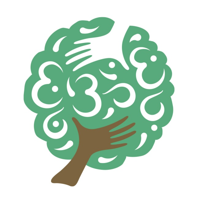 This practitioner of yoga and massage requested that the tree in her logo suggest the notion of being both upright and upside down like the Ashvattha tree in Hindu mythology. She also requested that the Indian Om symbol be hidden within the leaves of the tree. A design was developed with a hand as the trunk, with another hand dropped out in white at the top to suggest an invisible second trunk. Website also designed at Sumack Loft: www.massagemovementmeditation.com.
