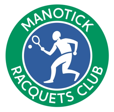 Logo produced on an honorarium basis for a not for profit raquet club. A stylized illustration of a unisex figure in an animated volley has been created using one size of circle to create almost all curves in design.
